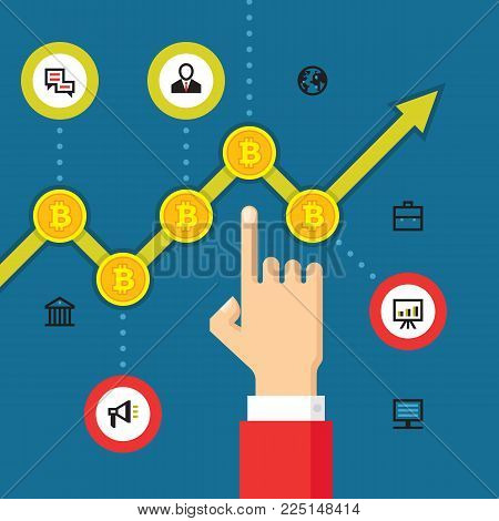 Digital currency bitcoin - vector concept illustration in flat style. Human hand and exchange schedule of growth. Investment money creative banner. Infographic of modern finance economic.
