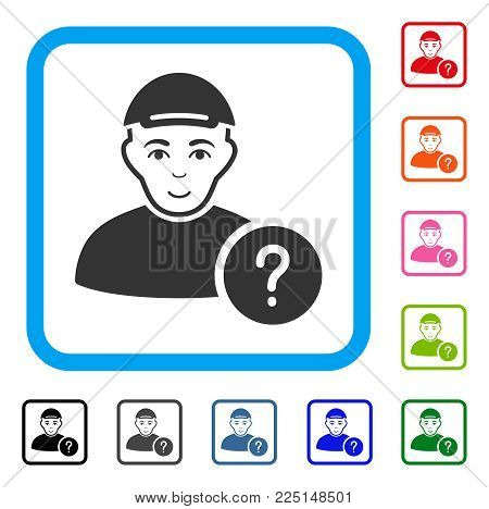 Smiling User Query vector pictogram. Person face has enjoy mood. Black, gray, green, blue, red, orange color additional versions of user query symbol in a rounded frame. A person dressed with a cap.