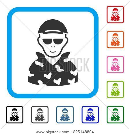 Gladness Swat Soldier vector pictograph. Person face has cheerful mood. Black, gray, green, blue, red, orange color versions of swat soldier symbol in a rounded rectangle.