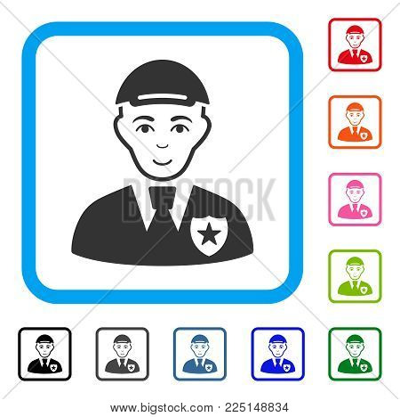 Glad Police Officer vector pictogram. Person face has glad feeling. Black, gray, green, blue, red, pink color versions of police officer symbol inside a rounded squared frame.