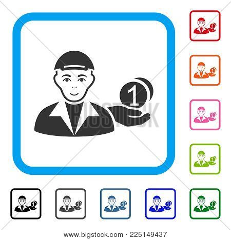 Happy Payer vector pictograph. Person face has glad mood. Black, gray, green, blue, red, orange color additional versions of payer symbol inside a rounded rectangular frame. A person with a cap.