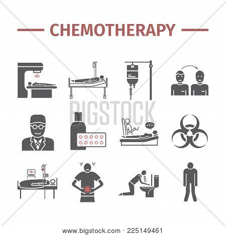 Chemotherapy flat icons set. Medicine infographics. Side effects of chemotherapy. Vector illustration.