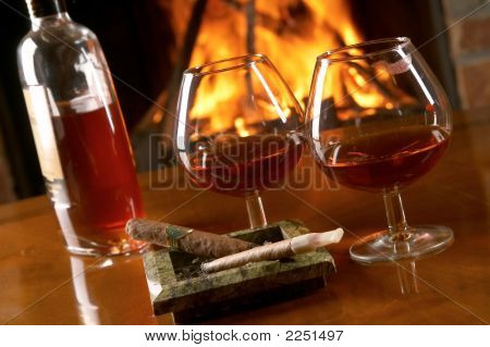 Still Life With Cognac And Cigars
