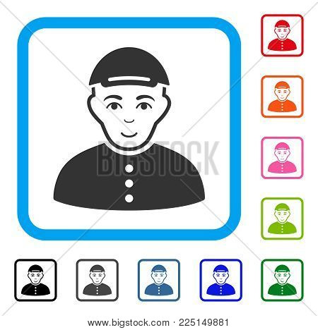 Happy Boy vector icon. Person face has enjoy sentiment. Black, gray, green, blue, red, orange color versions of boy symbol inside a rounded rectangular frame. A guy in a cap.