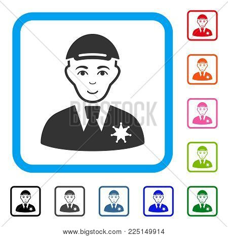 Happiness Police Sheriff vector pictograph. Human face has glad feeling. Black, grey, green, blue, red, pink color additional versions of police sheriff symbol in a rounded frame.