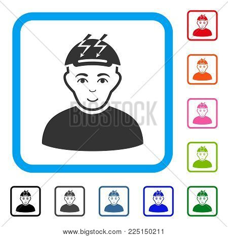 Joyful Headache Person vector pictograph. Person face has positive emotions. Black, grey, green, blue, red, orange color versions of headache person symbol inside a rounded rectangular frame.