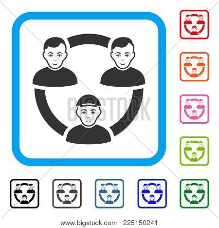 Gladness Persons Collaboration Network vector pictograph. Person face has positive emotion. Black, gray, green, blue, red,