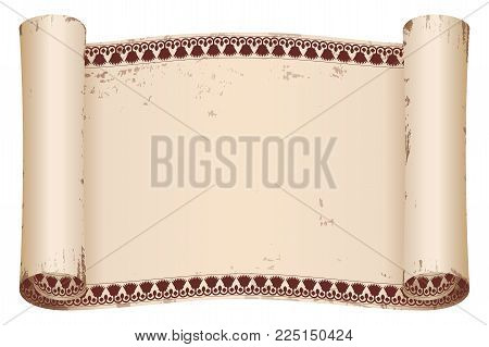 Ancient Egyptian papyrus with national brown ornament. Old beige paper with the aging effect isolated on white background.