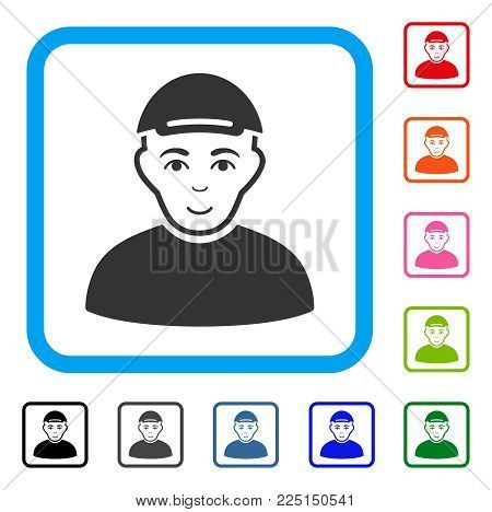 Glad Man vector pictograph. Person face has glad emotions. Black, gray, green, blue, red, pink color additional versions of man symbol inside a rounded rectangular frame. A dude dressed with a cap.