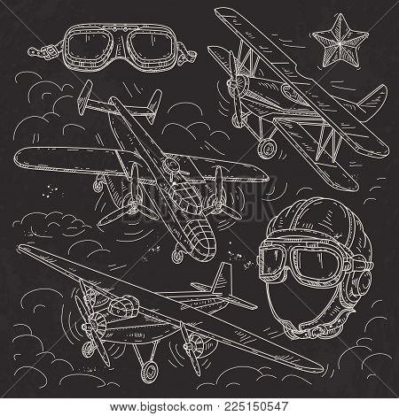 Vector illustration, set icons retro old aircraft on a background of clouds, pilot helmet and glasses pilot drawn on black background