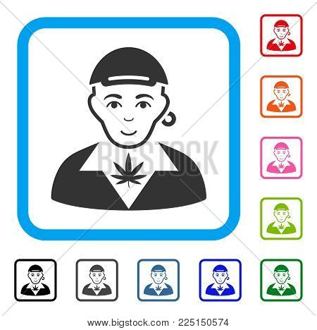Glad Marihuana Dealer vector icon. Person face has glad emotion. Black, grey, green, blue, red, pink color additional versions of Marihuana dealer symbol in a rounded rectangle.