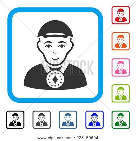Glad Lord vector icon. Human face has positive emotion. Black, gray, green, blue, red, orange color variants of lord symbol inside a rounded square. A person with a cap.