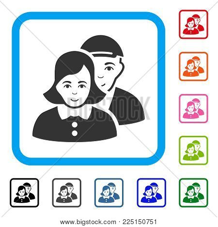 Glad People Couple vector icon. Person face has joy mood. Black, grey, green, blue, red, orange color variants of people couple symbol inside a rounded squared frame. A guy with a cap.