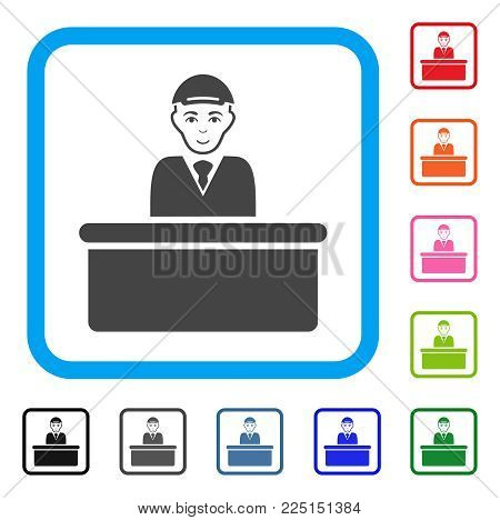 Enjoy Official Guy vector pictograph. Human face has glad sentiment. Black, grey, green, blue, red, orange color versions of official guy symbol inside a rounded squared frame.