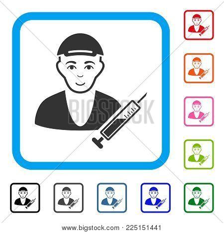 Glad Drug Dealer vector pictograph. Human face has joy mood. Black, grey, green, blue, red, pink color versions of drug dealer symbol in a rounded frame. A guy wearing a cap.