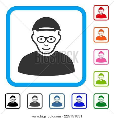Glad Pensioner vector pictograph. Human face has joyful emotions. Black, grey, green, blue, red, orange color versions of pensioner symbol in a rounded square. A man wearing a cap.