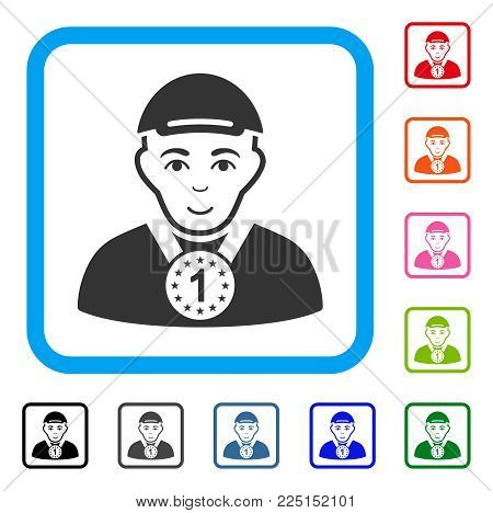 Glad Champion vector pictograph. Person face has happiness feeling. Black, grey, green, blue, red, pink color versions of champion symbol in a rounded squared frame. A guy dressed with a cap.