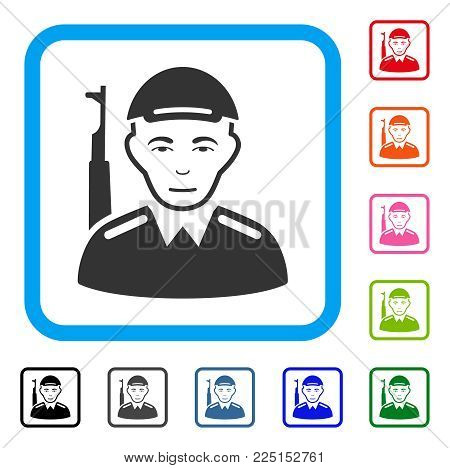 Joyful Asian Soldier vector pictograph. Human face has gladness emotion. Black, grey, green, blue, red, pink color additional versions of asian soldier symbol inside a rounded rectangle.