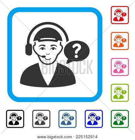 Joy Call Center Chat vector icon. Person face has enjoy sentiment. Black, gray, green, blue, red, pink color versions of call center chat symbol inside a rounded square. A guy dressed with a cap.