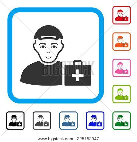 Enjoy First Aid Man vector pictogram. Human face has positive sentiment. Black, grey, green, blue, red, orange color variants of first aid man symbol in a rounded frame. A man wearing a cap.