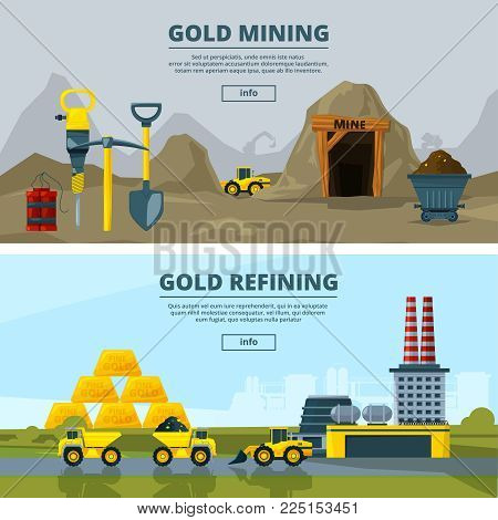 Vector banners set with illustrations of mining industry. Coal mine mineral, gold extraction and mining