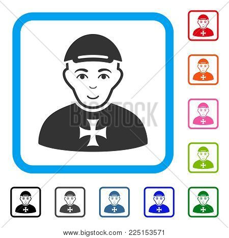 Positive Maltese Cross Awarded Man vector pictogram. Human face has joyful sentiment. Black, grey, green, blue, red, orange color versions of maltese cross awarded man symbol in a rounded frame.
