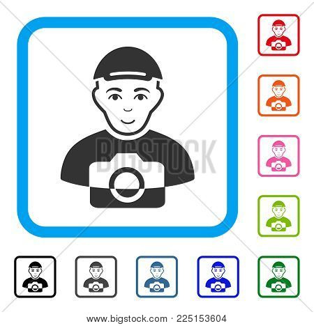 Enjoy Paparazzi vector icon. Human face has joy emotion. Black, gray, green, blue, red, pink color additional versions of paparazzi symbol in a rounded squared frame. A male person dressed with a cap. poster