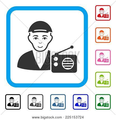 Glad Radio Dictor vector pictogram. Human face has cheerful mood. Black, grey, green, blue, red, pink color additional versions of radio dictor symbol in a rounded rectangular frame.