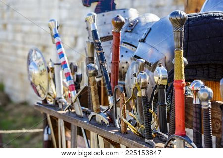Arsenal Of Swords In A Medieval Fair Kept In Sword Display Stand