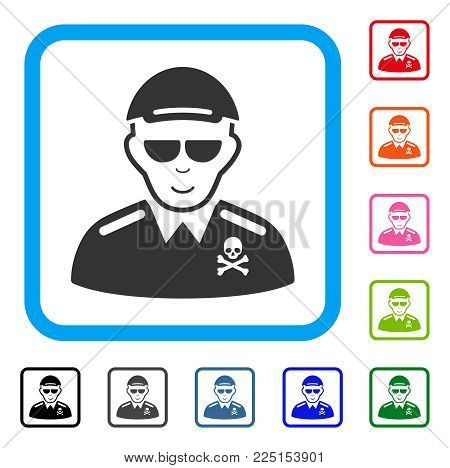 Glad Deadly Officer vector pictogram. Human face has joy expression. Black, gray, green, blue, red, pink color variants of deadly officer symbol in a rounded square. A dude wearing a cap.