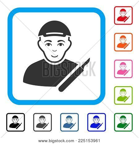Smiling Surgeon vector pictogram. Person face has happiness mood. Black, grey, green, blue, red, orange color variants of surgeon symbol inside a rounded frame. A dude in a cap.