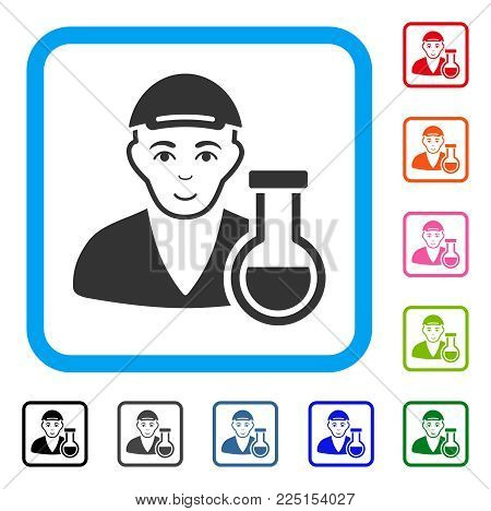 Joyful Chemistry Man vector icon. Human face has enjoy emotion. Black, gray, green, blue, red, orange color variants of CHEMISTRY MAN symbol in a rounded frame. A dude wearing a cap.