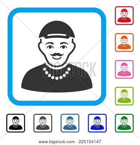 Glad Hipster Boy vector icon. Person face has happiness emotion. Black, grey, green, blue, red, pink color versions of hipster boy symbol inside a rounded frame. A man with a cap.