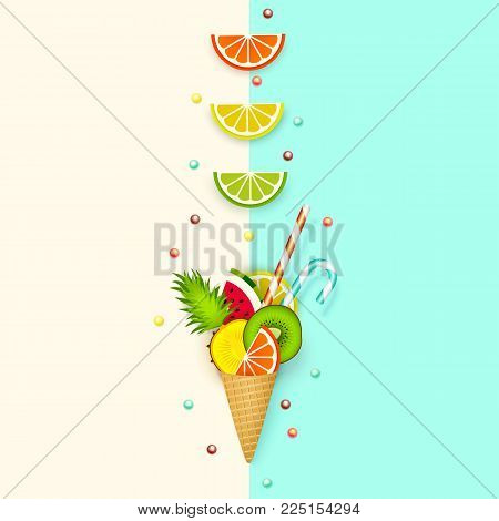 Ice cream, Fruit, 3D, Pastel. Abstract background with ice cream cone, lime, lemon, orange, kiwi and watermelon in paper cut style. Minimalist pastel summer food concept. Vector illustration