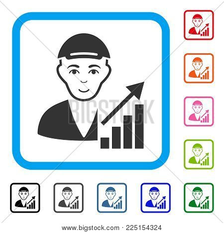 Happiness Stock Trader vector pictograph. Human face has glad emotion. Black, grey, green, blue, red, orange color additional versions of stock trader symbol inside a rounded square. A man with a cap.