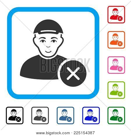 Joyful Remove User vector pictogram. Person face has smiling sentiment. Black, grey, green, blue, red, pink color additional versions of remove user symbol inside a rounded rectangle.