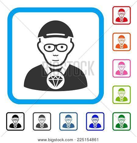 Smiling Jeweler vector pictogram. Human face has joyful emotions. Black, grey, green, blue, red, orange color additional versions of jeweler symbol inside a rounded rectangular frame.
