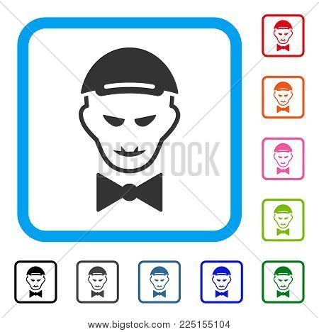 Gladness Vampire Head vector pictograph. Person face has enjoy sentiment. Black, grey, green, blue, red, orange color variants of vampire head symbol inside a rounded squared frame. A man in a cap.
