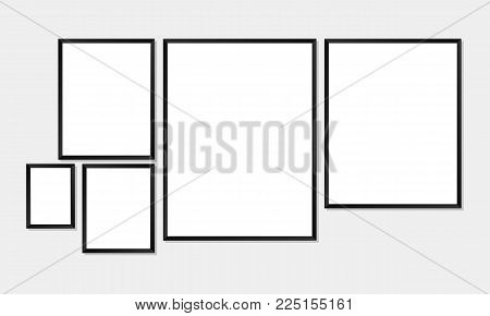 Set of simple frames mockups. Poster or photo frame template with 5 different sizes, and can be customized to fit any size. Vector illustration