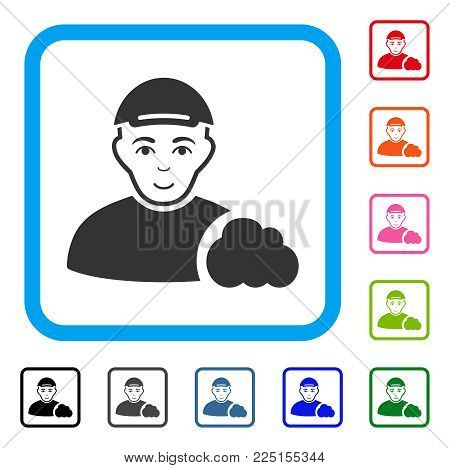 Glad User Cloud vector pictogram. Person face has enjoy emotions. Black, grey, green, blue, red, pink color additional versions of user cloud symbol inside a rounded squared frame. A dude with a cap.