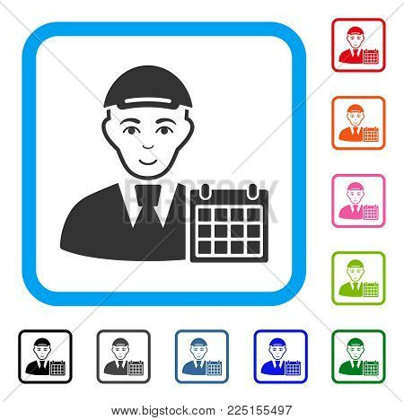 Glad User Calendar vector pictograph. Person face has glad expression. Black, grey, green, blue, red, orange color variants of user calendar symbol in a rounded squared frame. A boy with a cap.