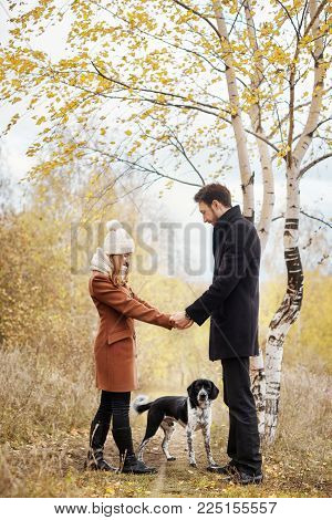 Couple In Love On Valentine's Day Walking In The Park With The Dog. The Love And Tenderness Between