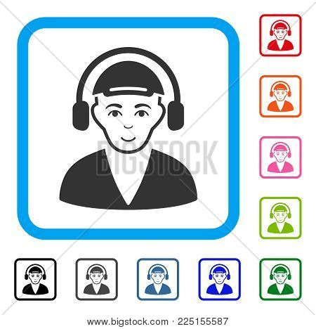 Enjoy Radio Man vector icon. Human face has positive emotions. Black, gray, green, blue, red, pink color versions of radio man symbol inside a rounded square. A male person dressed with a cap.