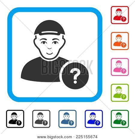Positive User Status Question vector pictograph. Person face has gladness mood. Black, gray, green, blue, red, pink color additional versions of user status question symbol inside a rounded frame.