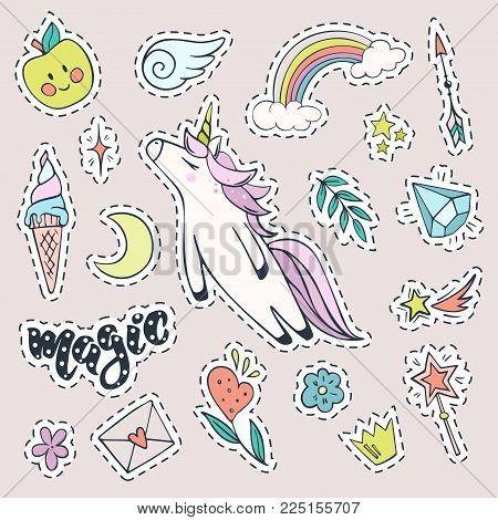 Vector set of magic stickers. Cute unicorn, rainbow,ice cream, shooting star, magic wand, diamond and other fashion patch badges.