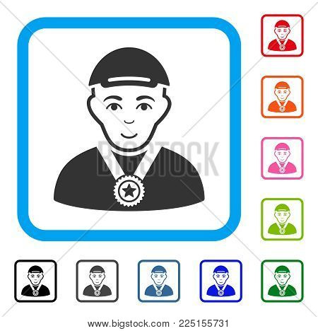 Gladness Champion vector pictograph. Human face has enjoy expression. Black, gray, green, blue, red, pink color additional versions of champion symbol inside a rounded squared frame.