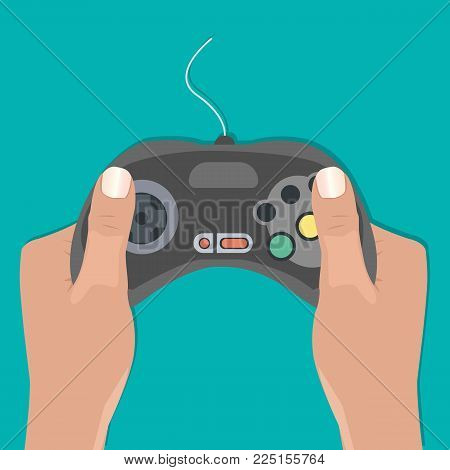 Hands holding retro wired gamepad on green background. Videogame concept in flat design. Vector illustration