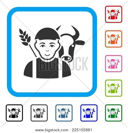 Happiness Farmer vector pictogram. Person face has joyful emotion. Black, gray, green, blue, red, orange color versions of farmer symbol in a rounded squared frame. A male person wearing a cap.