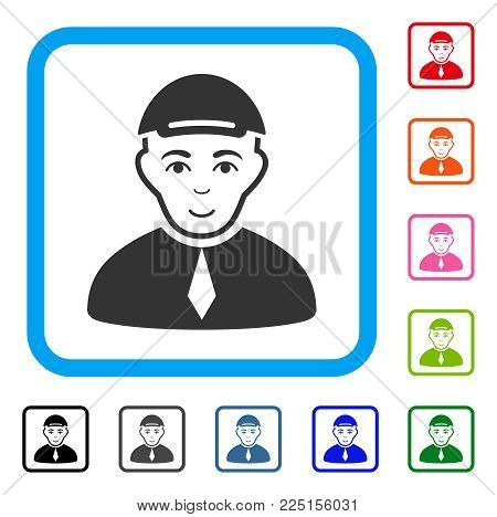 Enjoy Lawyer vector pictograph. Human face has joyful emotion. Black, gray, green, blue, red, orange color additional versions of lawyer symbol inside a rounded rectangle. A boy in a cap.