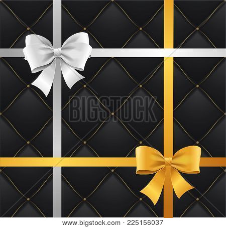 Realistic 3d Detailed Shiny Silk Ribbon Bow And Quilted Background for Exclusive Congratulation and Elegance Greeting. Vector illustration